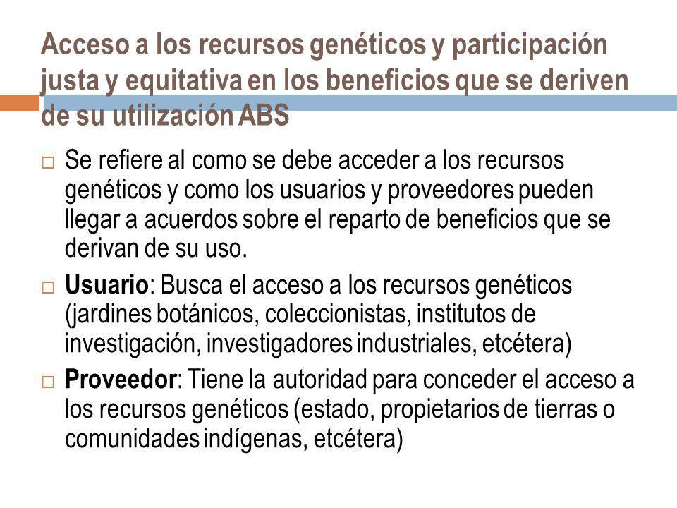 Acceso a los recursos genéticos y participación justa y equitativa en los beneficios que se deriven de su utilización ABS Se refiere al como se debe a