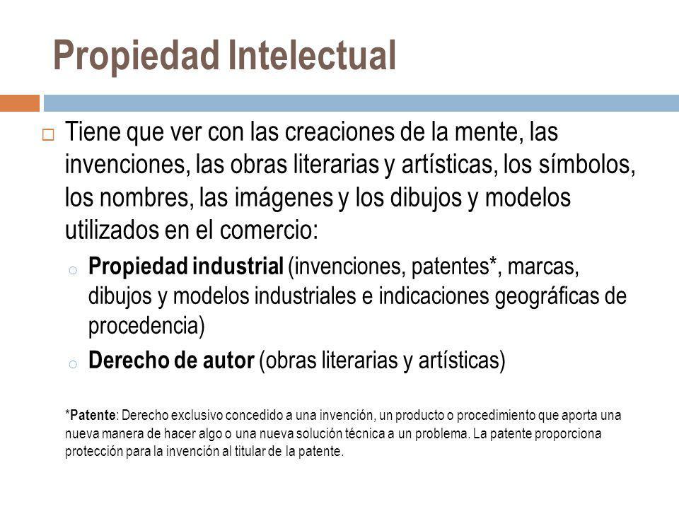 Propiedad Intelectual Tiene que ver con las creaciones de la mente, las invenciones, las obras literarias y artísticas, los símbolos, los nombres, las