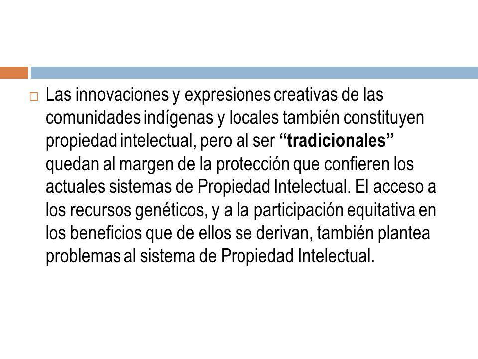 Las innovaciones y expresiones creativas de las comunidades indígenas y locales también constituyen propiedad intelectual, pero al ser tradicionales q