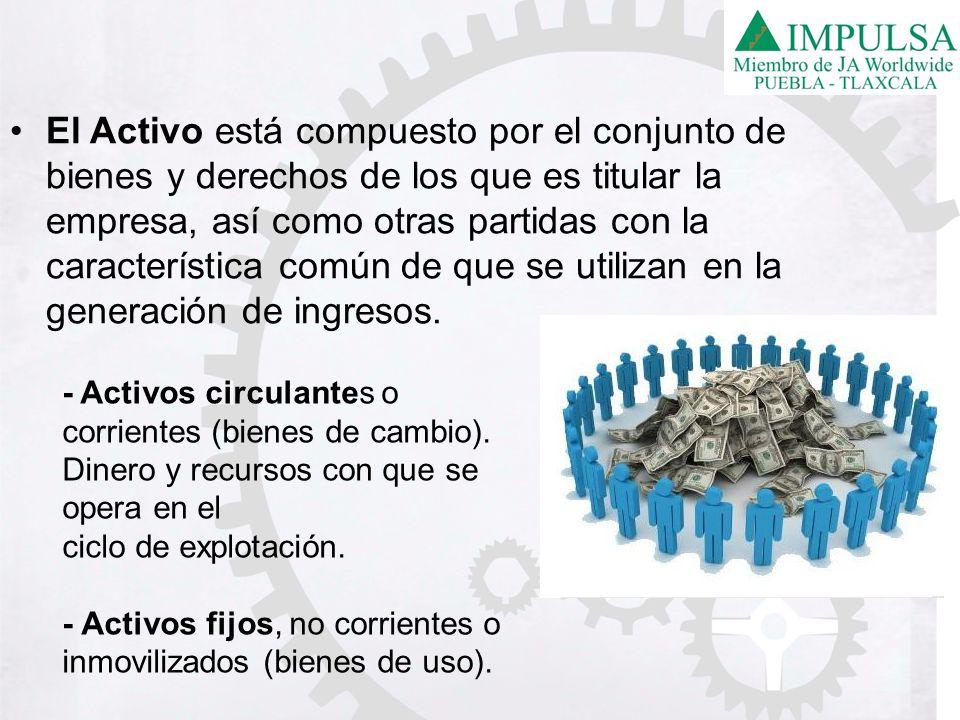 El Activo está compuesto por el conjunto de bienes y derechos de los que es titular la empresa, así como otras partidas con la característica común de