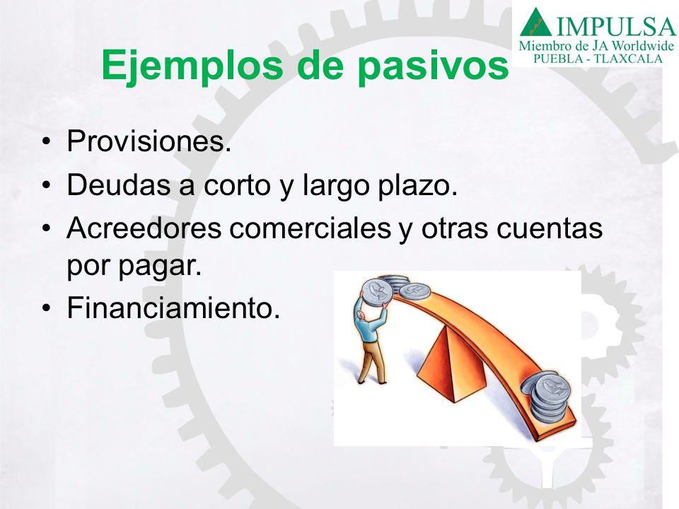 Ejemplos de pasivos Provisiones. Deudas a corto y largo plazo. Acreedores comerciales y otras cuentas por pagar. Financiamiento.