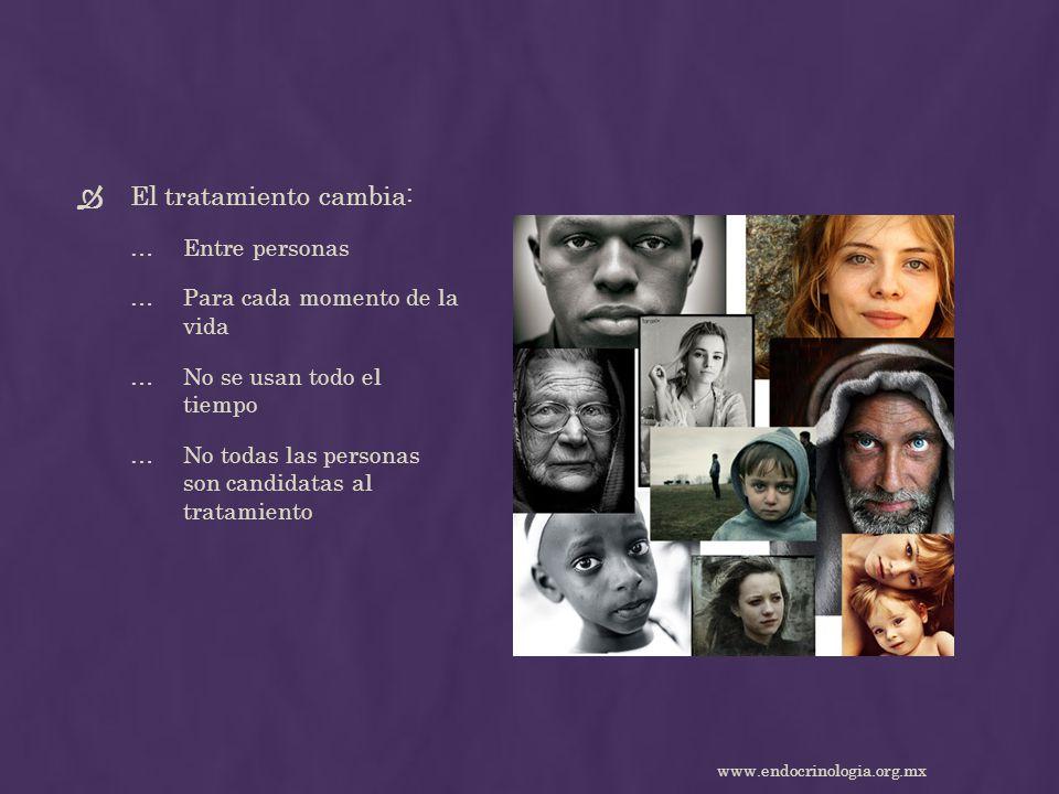 El tratamiento cambia: …Entre personas …Para cada momento de la vida …No se usan todo el tiempo …No todas las personas son candidatas al tratamiento w