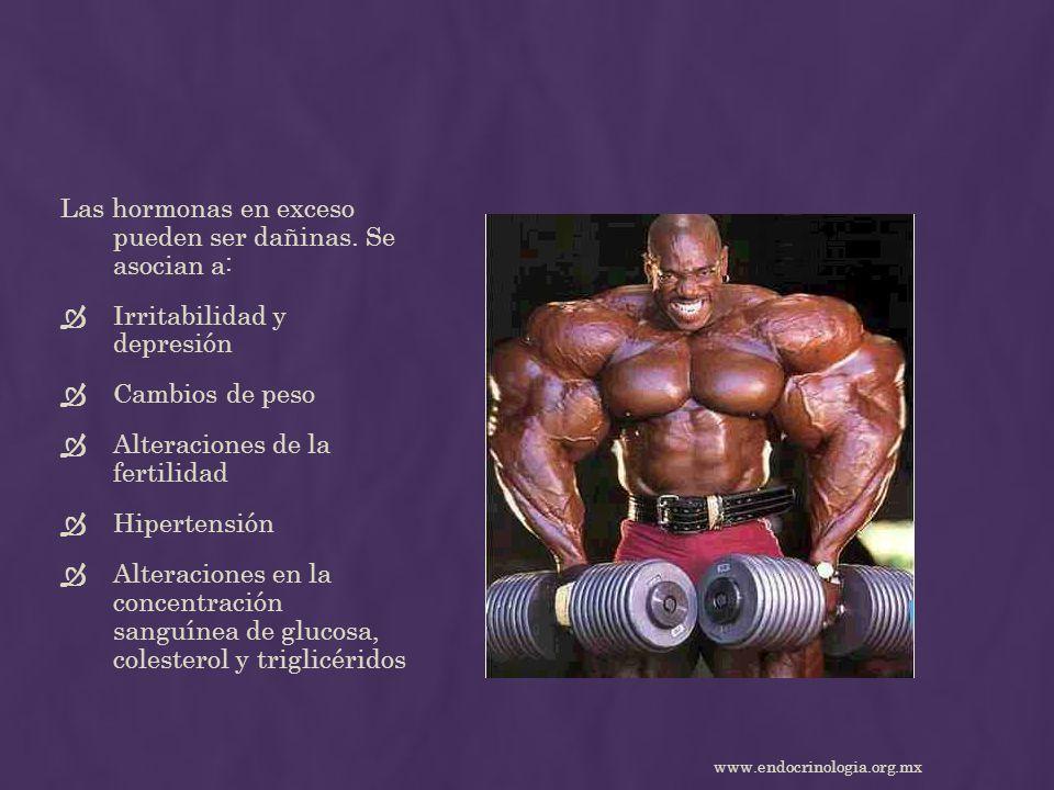 Las hormonas en exceso pueden ser dañinas. Se asocian a: Irritabilidad y depresión Cambios de peso Alteraciones de la fertilidad Hipertensión Alteraci