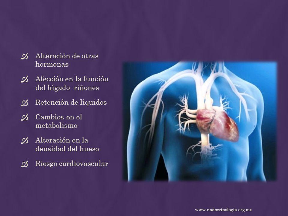 Alteración de otras hormonas Afección en la función del hígado riñones Retención de líquidos Cambios en el metabolismo Alteración en la densidad del h