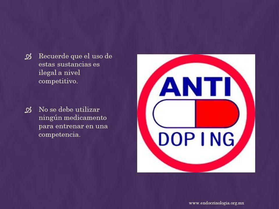 Recuerde que el uso de estas sustancias es ilegal a nivel competitivo. No se debe utilizar ningún medicamento para entrenar en una competencia. www.en