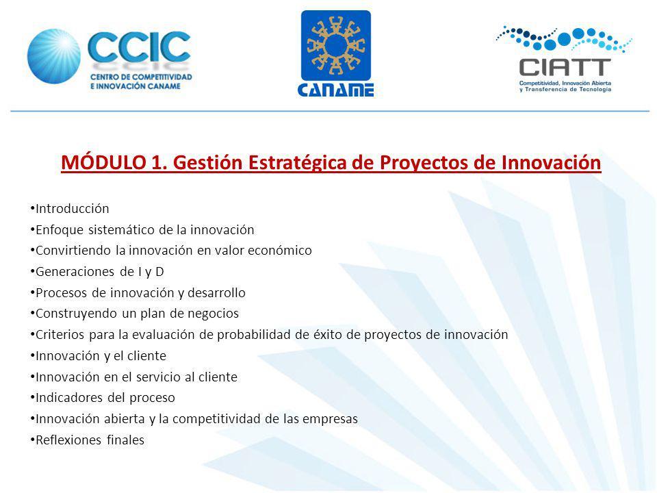 MÓDULO 1. Gestión Estratégica de Proyectos de Innovación Introducción Enfoque sistemático de la innovación Convirtiendo la innovación en valor económi
