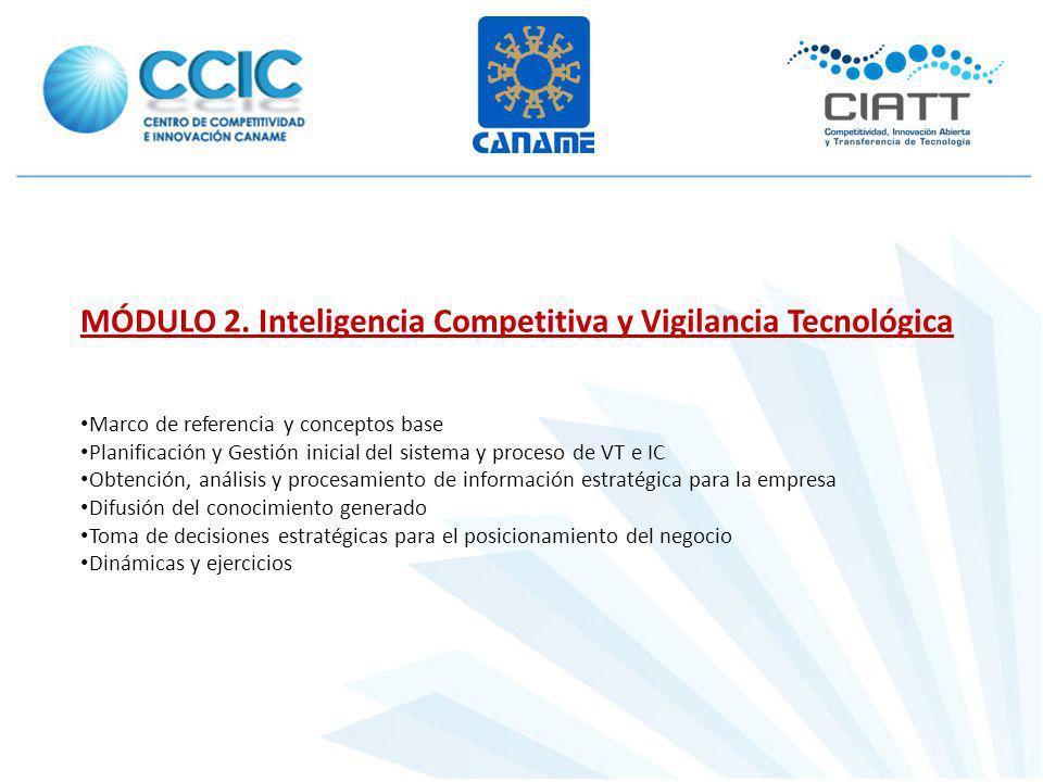 MÓDULO 2. Inteligencia Competitiva y Vigilancia Tecnológica Marco de referencia y conceptos base Planificación y Gestión inicial del sistema y proceso