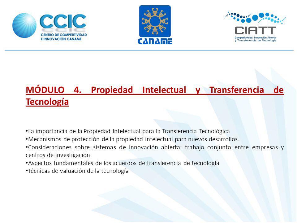 MÓDULO 4. Propiedad Intelectual y Transferencia de Tecnología La importancia de la Propiedad Intelectual para la Transferencia Tecnológica Mecanismos