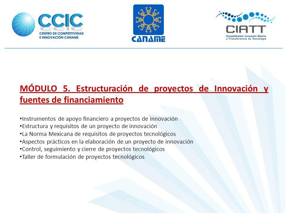 MÓDULO 5. Estructuración de proyectos de Innovación y fuentes de financiamiento Instrumentos de apoyo financiero a proyectos de innovación Estructura