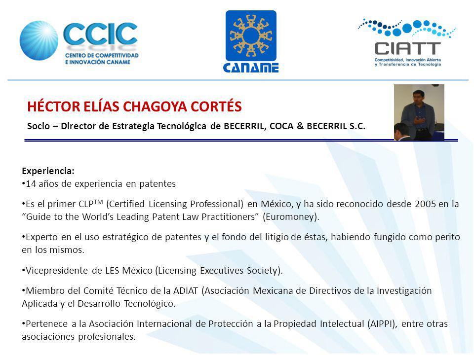 HÉCTOR ELÍAS CHAGOYA CORTÉS Socio – Director de Estrategia Tecnológica de BECERRIL, COCA & BECERRIL S.C. Experiencia: 14 años de experiencia en patent