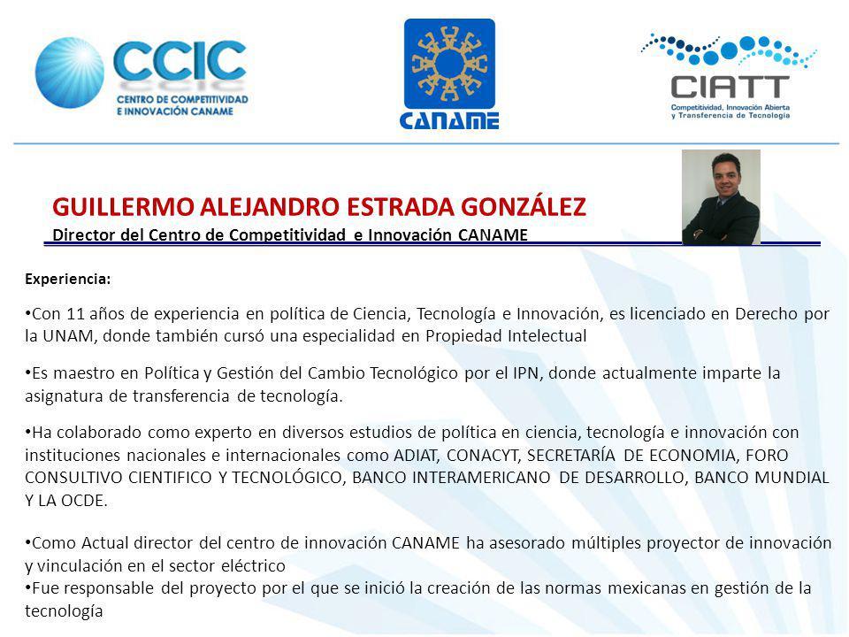 Experiencia: Con 11 años de experiencia en política de Ciencia, Tecnología e Innovación, es licenciado en Derecho por la UNAM, donde también cursó una