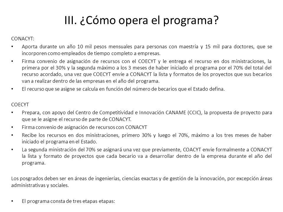 III. ¿Cómo opera el programa? CONACYT: Aporta durante un año 10 mil pesos mensuales para personas con maestría y 15 mil para doctores, que se incorpor