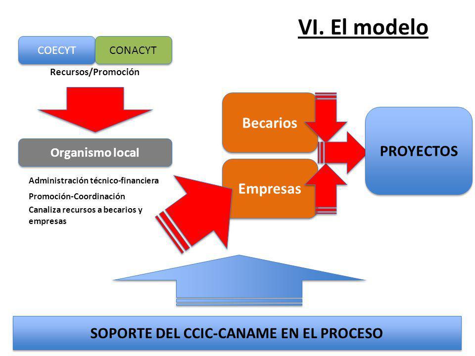 VI. El modelo Empresas COECYT CONACYT Organismo local Recursos/Promoción SOPORTE DEL CCIC-CANAME EN EL PROCESO Administración técnico-financiera Promo