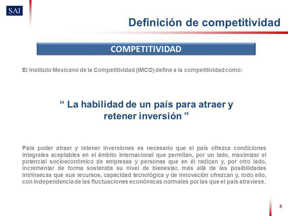 4 COMPETITIVIDAD Definición de competitividad La habilidad de un país para atraer y retener inversión El Instituto Mexicano de la Competitividad (IMCO