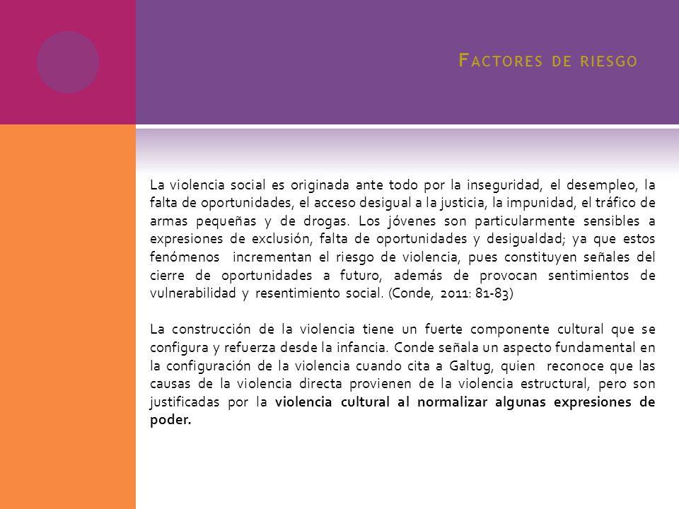 F ACTORES DE RIESGO La violencia social es originada ante todo por la inseguridad, el desempleo, la falta de oportunidades, el acceso desigual a la ju