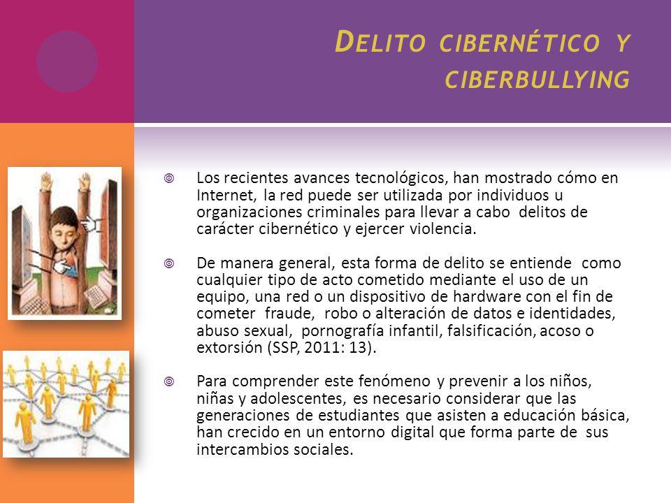 D ELITO CIBERNÉTICO Y CIBERBULLYING Los recientes avances tecnológicos, han mostrado cómo en Internet, la red puede ser utilizada por individuos u org