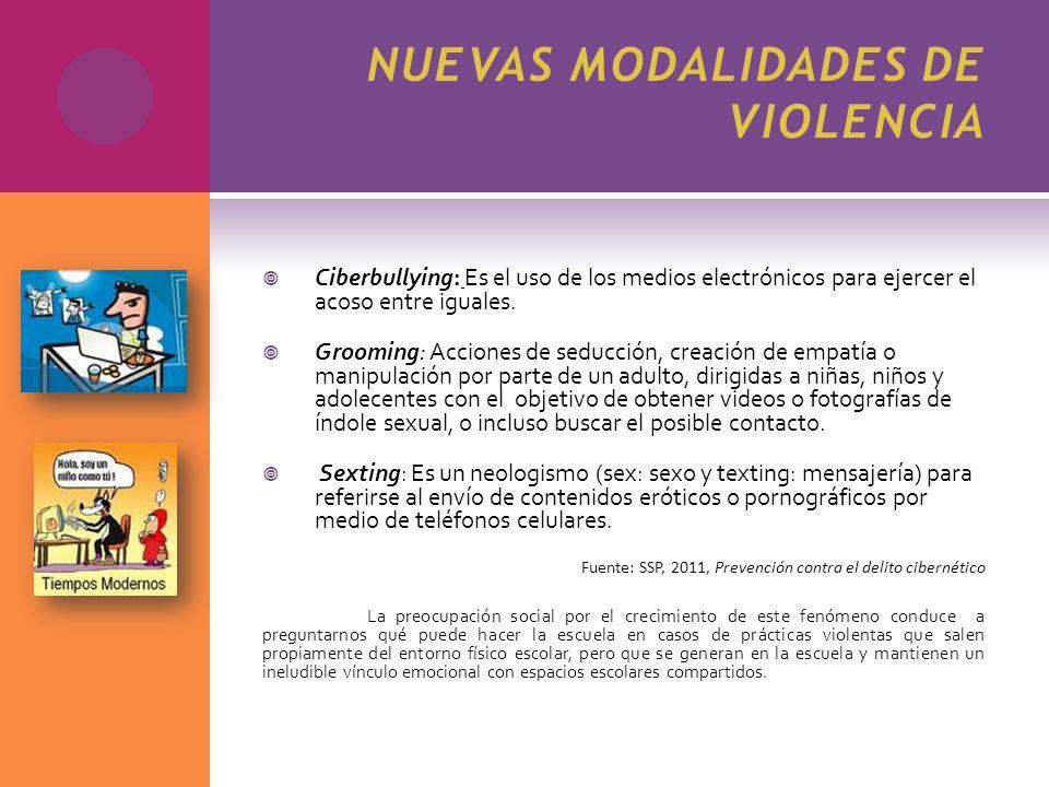 NUEVAS MODALIDADES DE VIOLENCIA Ciberbullying: Es el uso de los medios electrónicos para ejercer el acoso entre iguales. Grooming: Acciones de seducci