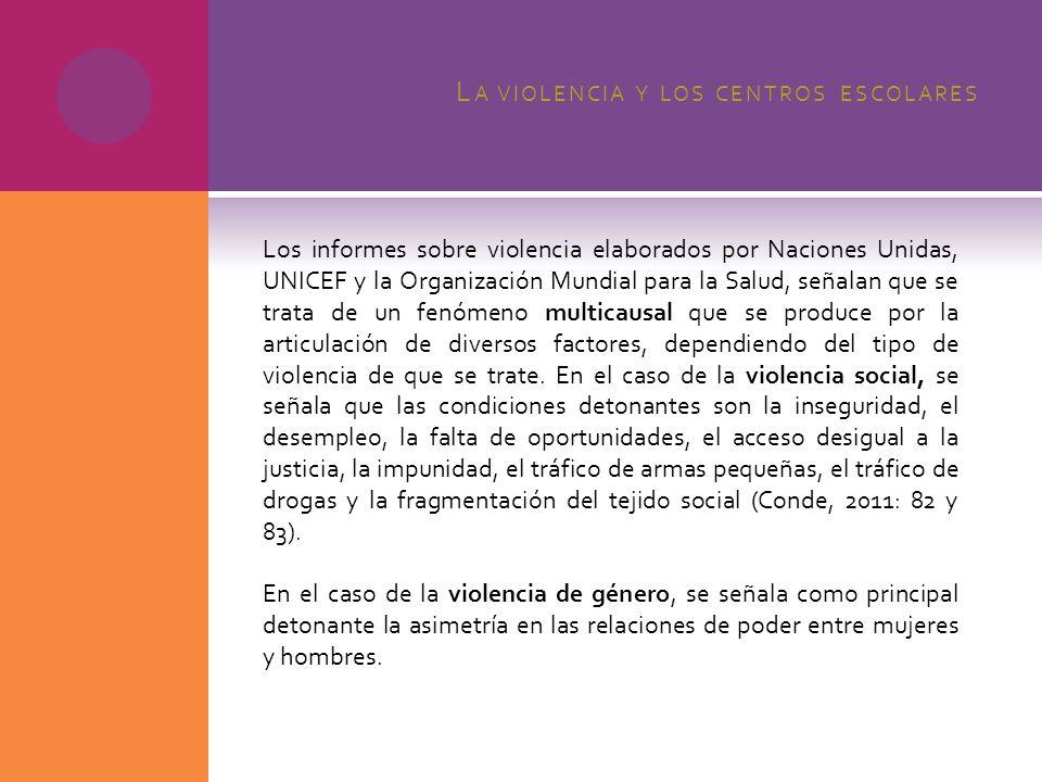 L A VIOLENCIA Y LOS CENTROS ESCOLARES Los informes sobre violencia elaborados por Naciones Unidas, UNICEF y la Organización Mundial para la Salud, señ