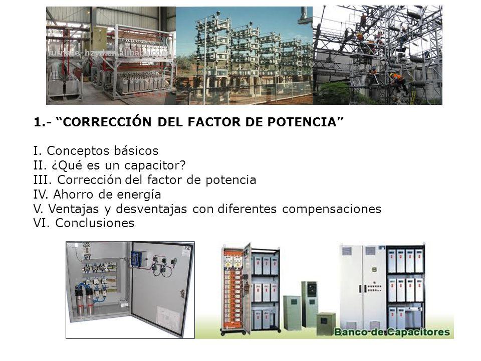 1.- CORRECCIÓN DEL FACTOR DE POTENCIA I. Conceptos básicos II. ¿Qué es un capacitor? III. Corrección del factor de potencia IV. Ahorro de energía V. V