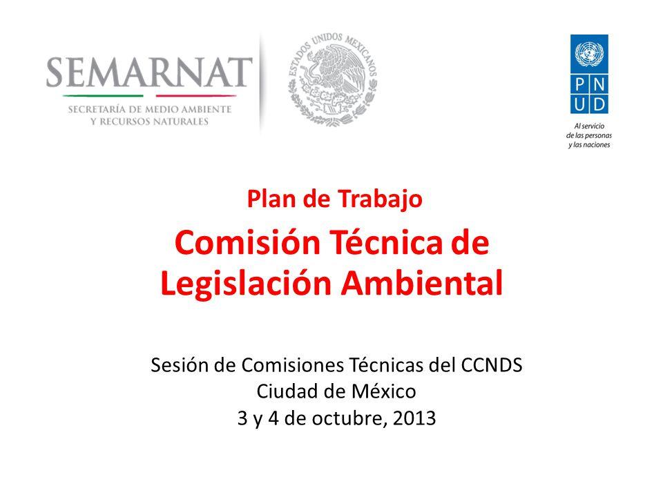 Plan de Trabajo Comisión Técnica de Legislación Ambiental Sesión de Comisiones Técnicas del CCNDS Ciudad de México 3 y 4 de octubre, 2013