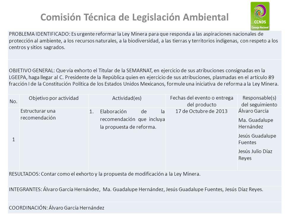 Comisión Técnica de Legislación Ambiental PROBLEMA IDENTIFICADO: Es urgente reformar la Ley Minera para que responda a las aspiraciones nacionales de