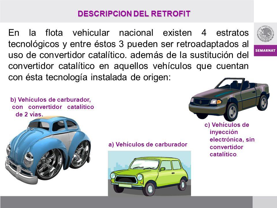 DESCRIPCION DEL RETROFIT En la flota vehicular nacional existen 4 estratos tecnológicos y entre éstos 3 pueden ser retroadaptados al uso de convertido