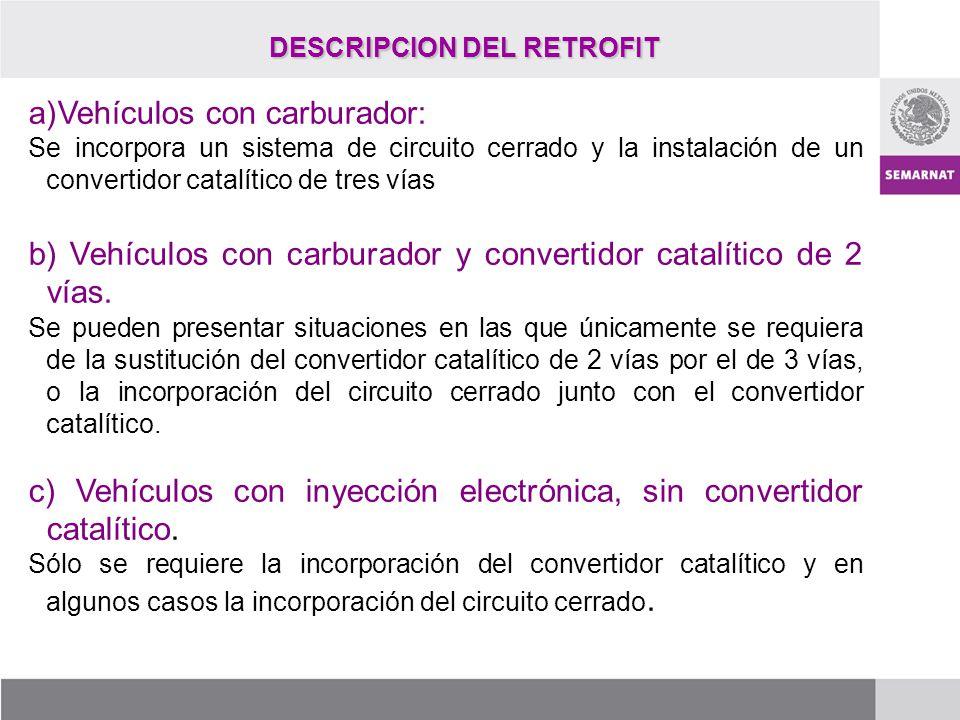 DESCRIPCION DEL RETROFIT a)Vehículos con carburador: Se incorpora un sistema de circuito cerrado y la instalación de un convertidor catalítico de tres