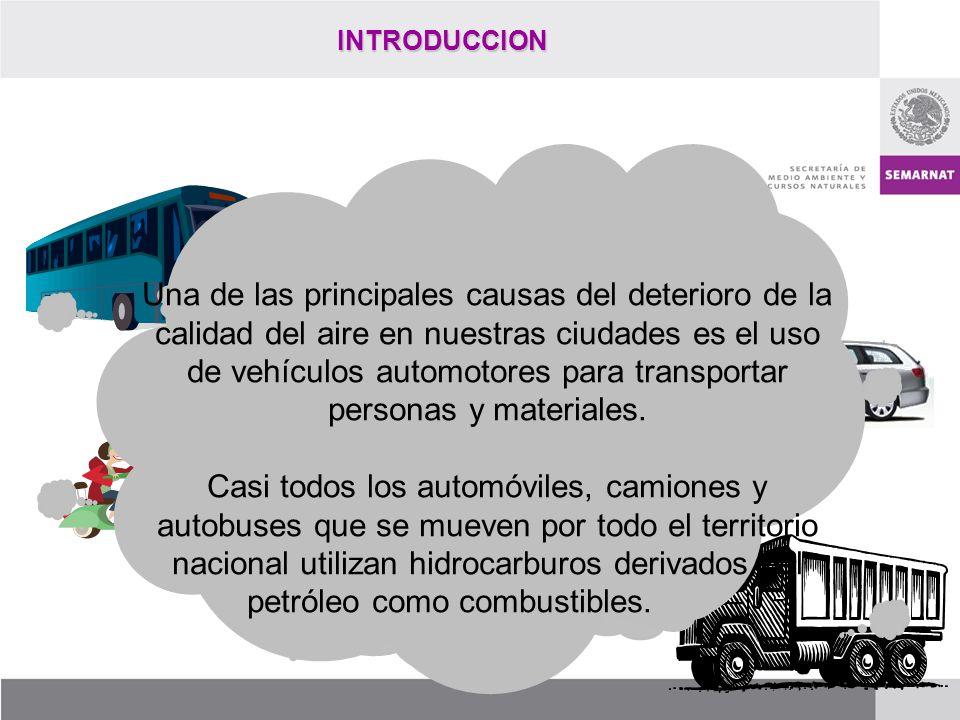 INTRODUCCION Una de las principales causas del deterioro de la calidad del aire en nuestras ciudades es el uso de vehículos automotores para transport