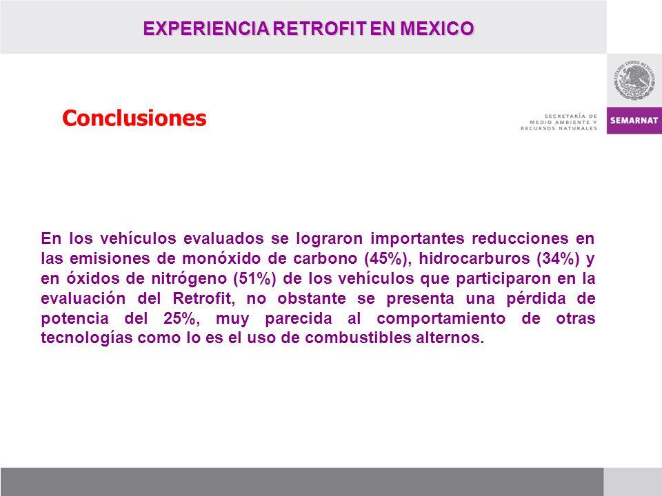 EXPERIENCIA RETROFIT EN MEXICO Conclusiones En los vehículos evaluados se lograron importantes reducciones en las emisiones de monóxido de carbono (45