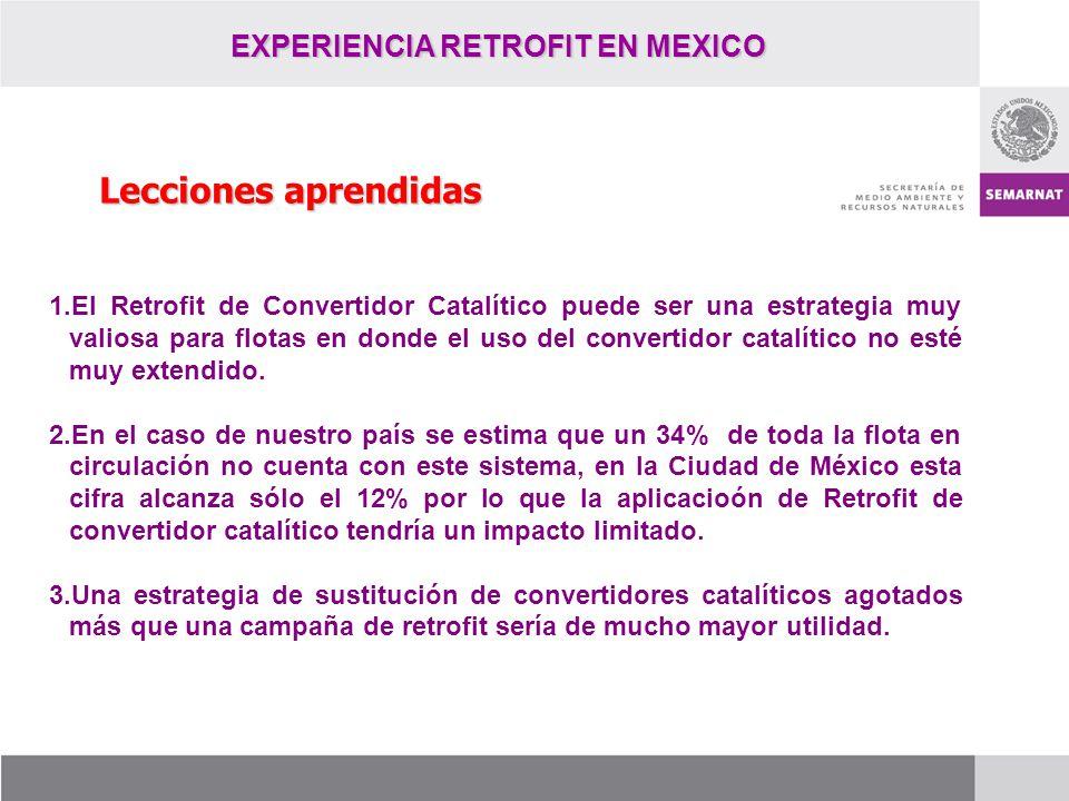 EXPERIENCIA RETROFIT EN MEXICO Lecciones aprendidas 1.El Retrofit de Convertidor Catalítico puede ser una estrategia muy valiosa para flotas en donde