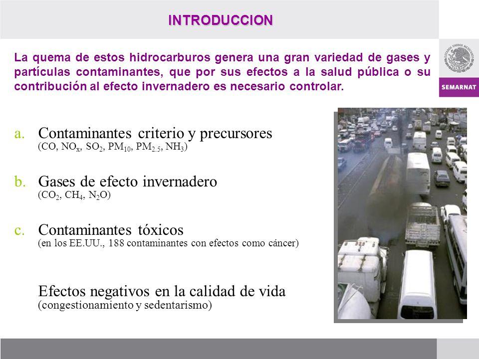 INTRODUCCION a.Contaminantes criterio y precursores (CO, NO x, SO 2, PM 10, PM 2.5, NH 3 ) b.Gases de efecto invernadero (CO 2, CH 4, N 2 O) c.Contami