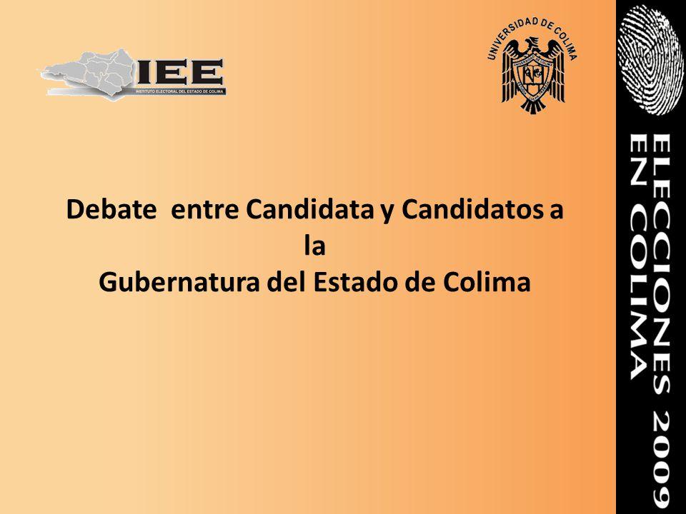 Objetivos del debate: Generar el espacio para la libre discusión de las ideas y propuestas de los candidatos y candidata a la Gubernatura del Estado en un marco de imparcialidad, tolerancia y respeto.