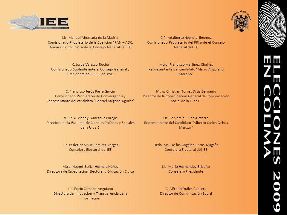 Lic. Manuel Ahumada de la Madrid Comisionado Propietario de la Coalición PAN – ADC, Ganará de Colima ante el Consejo General del IEE C.P. Adalberto Ne