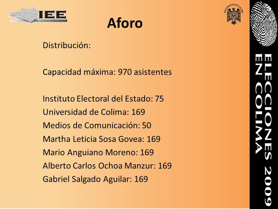 Distribución: Capacidad máxima: 970 asistentes Instituto Electoral del Estado: 75 Universidad de Colima: 169 Medios de Comunicación: 50 Martha Leticia