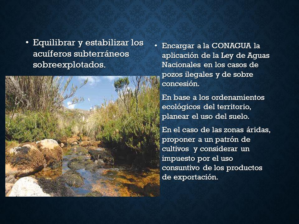 Equilibrar y estabilizar los acuíferos subterráneos sobreexplotados. Equilibrar y estabilizar los acuíferos subterráneos sobreexplotados. Encargar a l