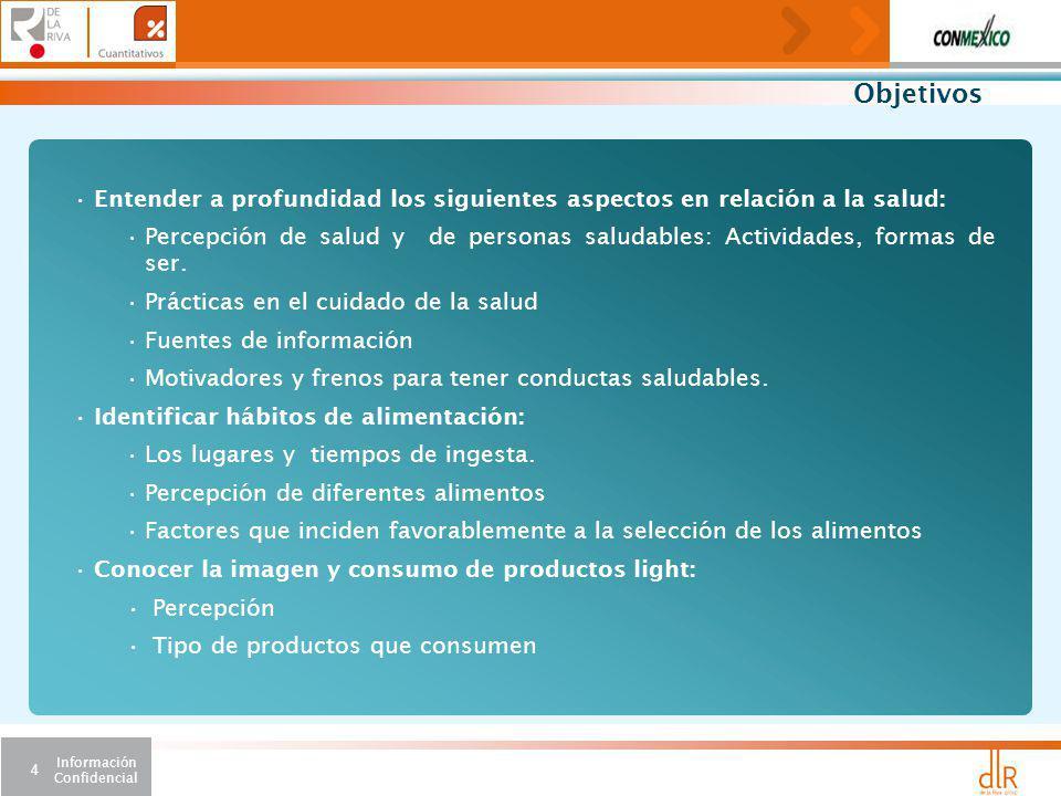 Información Confidencial 4 Objetivos Entender a profundidad los siguientes aspectos en relación a la salud: Percepción de salud y de personas saludables: Actividades, formas de ser.