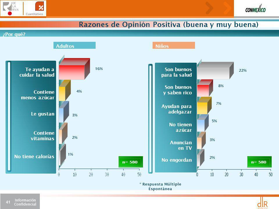 Información Confidencial 41 Razones de Opinión Positiva (buena y muy buena) n= 580 ¿Por qué.