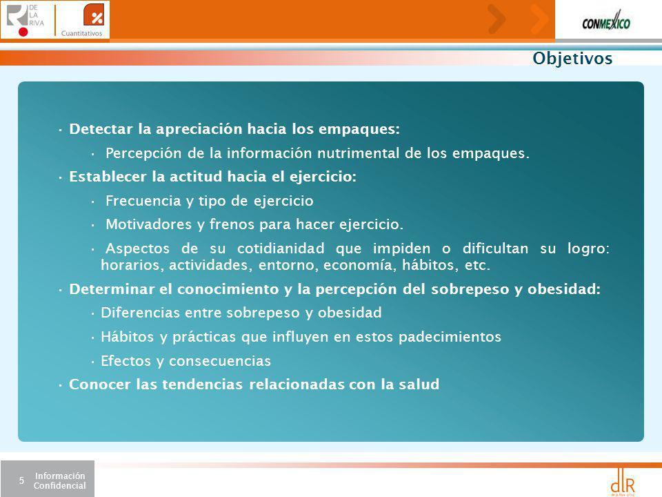 Información Confidencial 5 Objetivos Detectar la apreciación hacia los empaques: Percepción de la información nutrimental de los empaques.