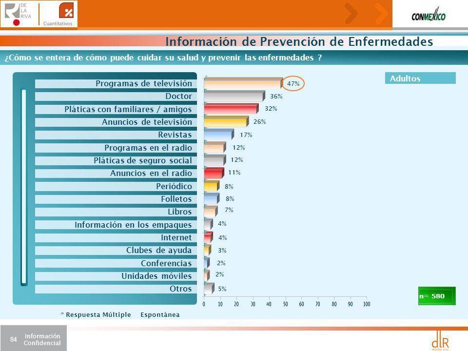 Información Confidencial 84 Información de Prevención de Enfermedades ¿Cómo se entera de cómo puede cuidar su salud y prevenir las enfermedades .