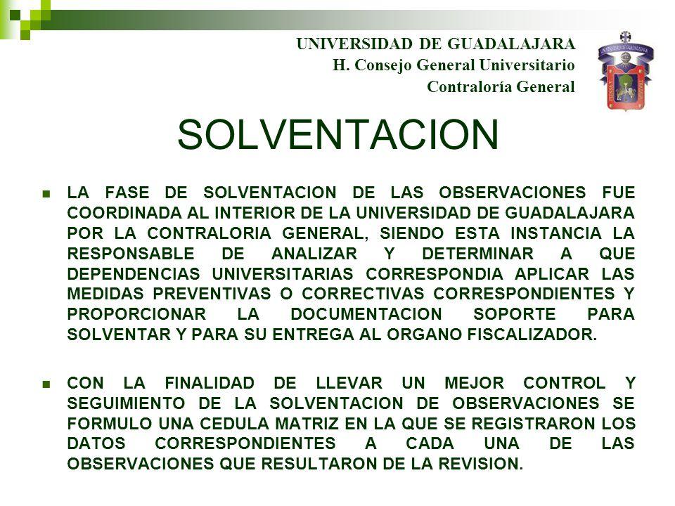 UNIVERSIDAD DE GUADALAJARA Contraloría General H. Consejo General Universitario SOLVENTACION LA FASE DE SOLVENTACION DE LAS OBSERVACIONES FUE COORDINA