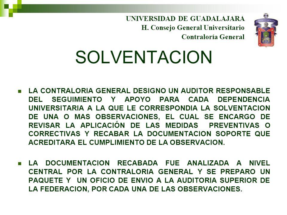 UNIVERSIDAD DE GUADALAJARA Contraloría General H. Consejo General Universitario SOLVENTACION LA CONTRALORIA GENERAL DESIGNO UN AUDITOR RESPONSABLE DEL