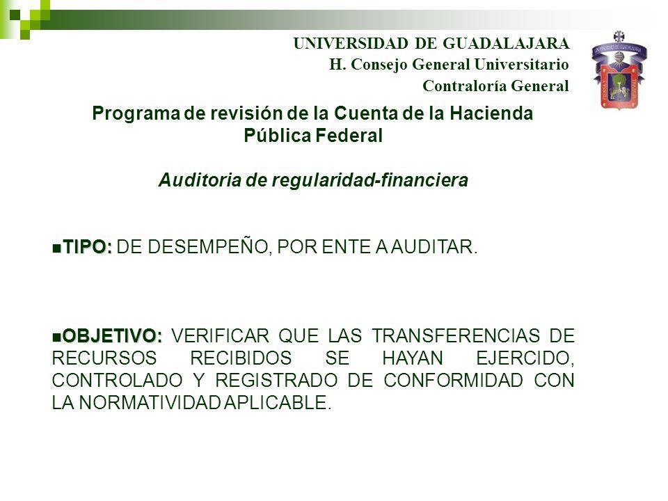 UNIVERSIDAD DE GUADALAJARA Contraloría General H. Consejo General Universitario Programa de revisión de la Cuenta de la Hacienda Pública Federal Audit