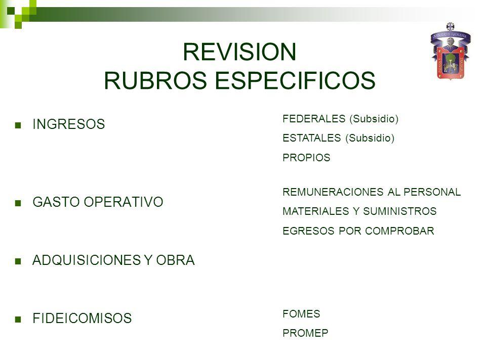 REVISION RUBROS ESPECIFICOS INGRESOS GASTO OPERATIVO ADQUISICIONES Y OBRA FIDEICOMISOS FEDERALES (Subsidio) ESTATALES (Subsidio) PROPIOS REMUNERACIONE