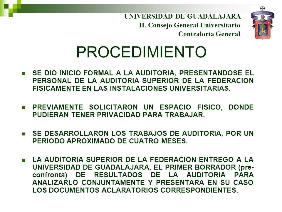 PROCEDIMIENTO SE DIO INICIO FORMAL A LA AUDITORIA, PRESENTANDOSE EL PERSONAL DE LA AUDITORIA SUPERIOR DE LA FEDERACION FISICAMENTE EN LAS INSTALACIONES UNIVERSITARIAS.