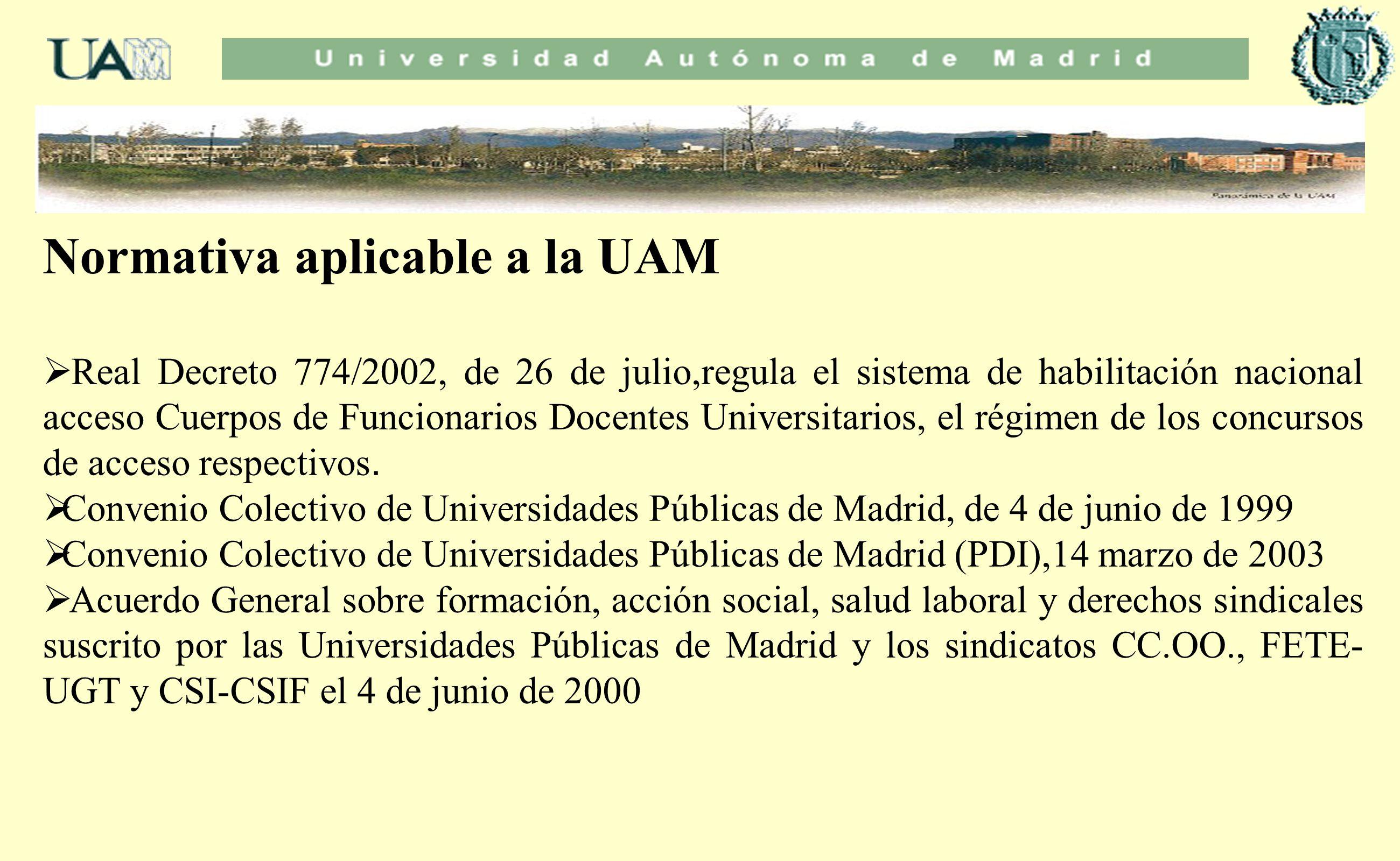 Normativa aplicable a la UAM Real Decreto 774/2002, de 26 de julio,regula el sistema de habilitación nacional acceso Cuerpos de Funcionarios Docentes