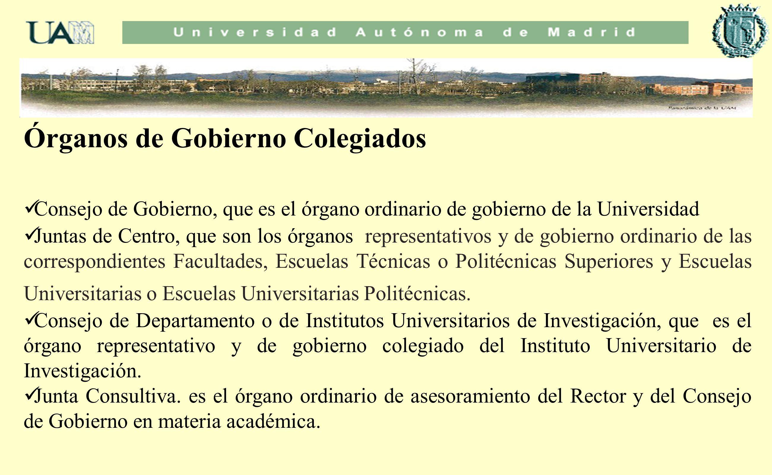 Órganos de Gobierno Colegiados Consejo de Gobierno, que es el órgano ordinario de gobierno de la Universidad Juntas de Centro, que son los órganos rep