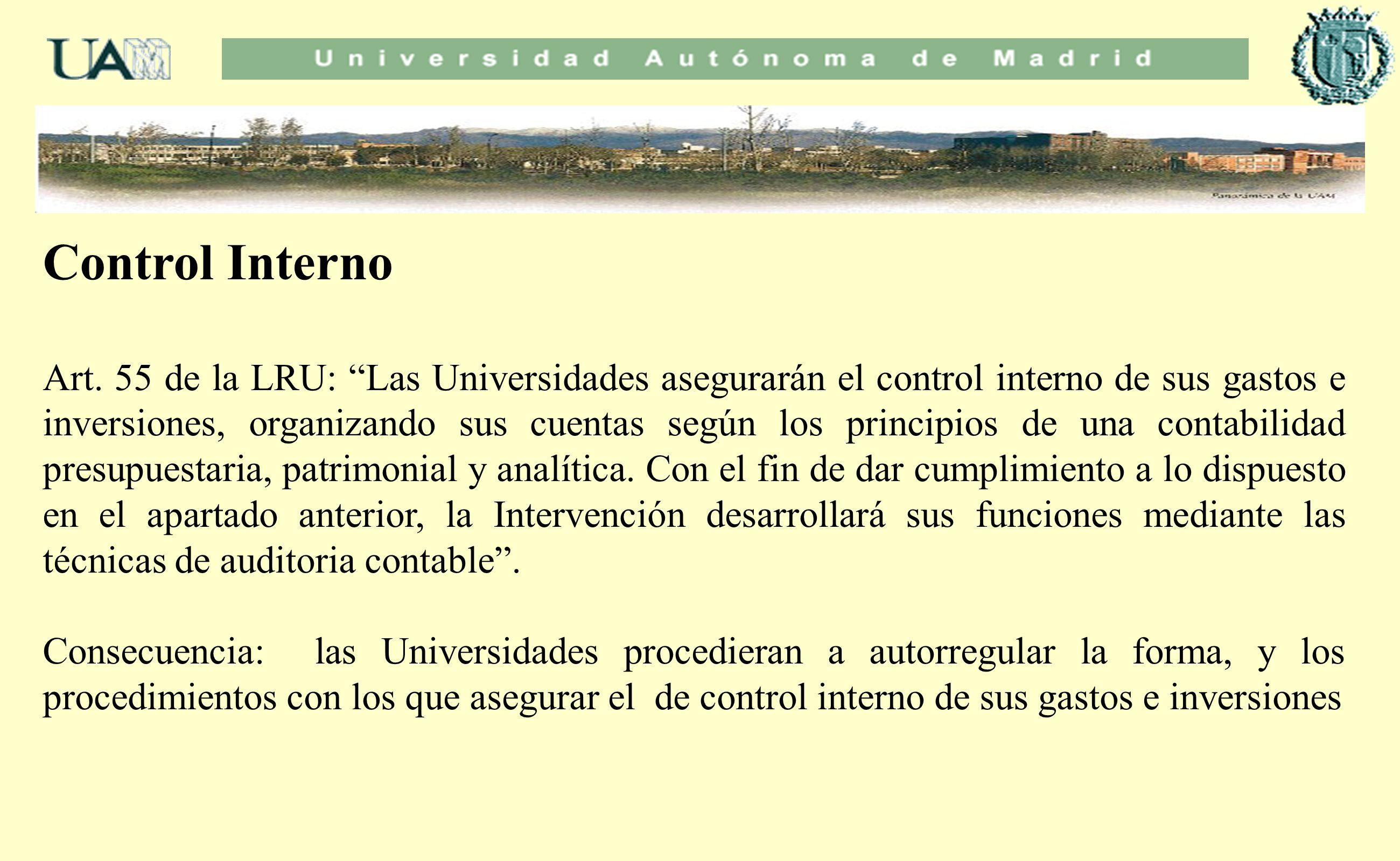 Control Interno Art. 55 de la LRU: Las Universidades asegurarán el control interno de sus gastos e inversiones, organizando sus cuentas según los prin
