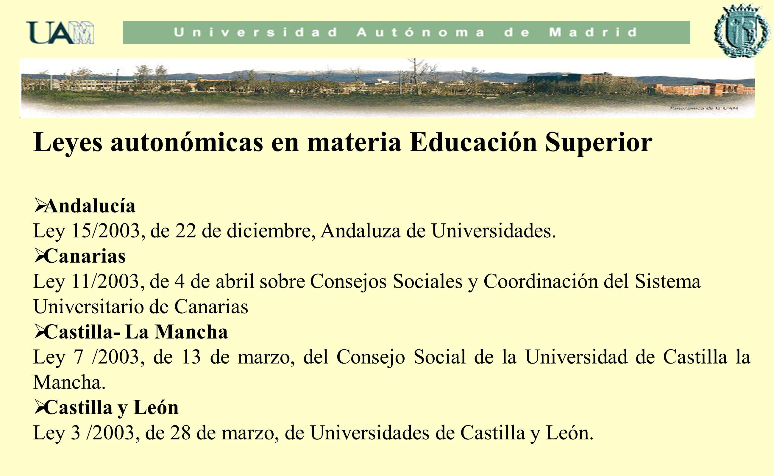 Leyes autonómicas en materia Educación Superior Andalucía Ley 15/2003, de 22 de diciembre, Andaluza de Universidades. Canarias Ley 11/2003, de 4 de ab
