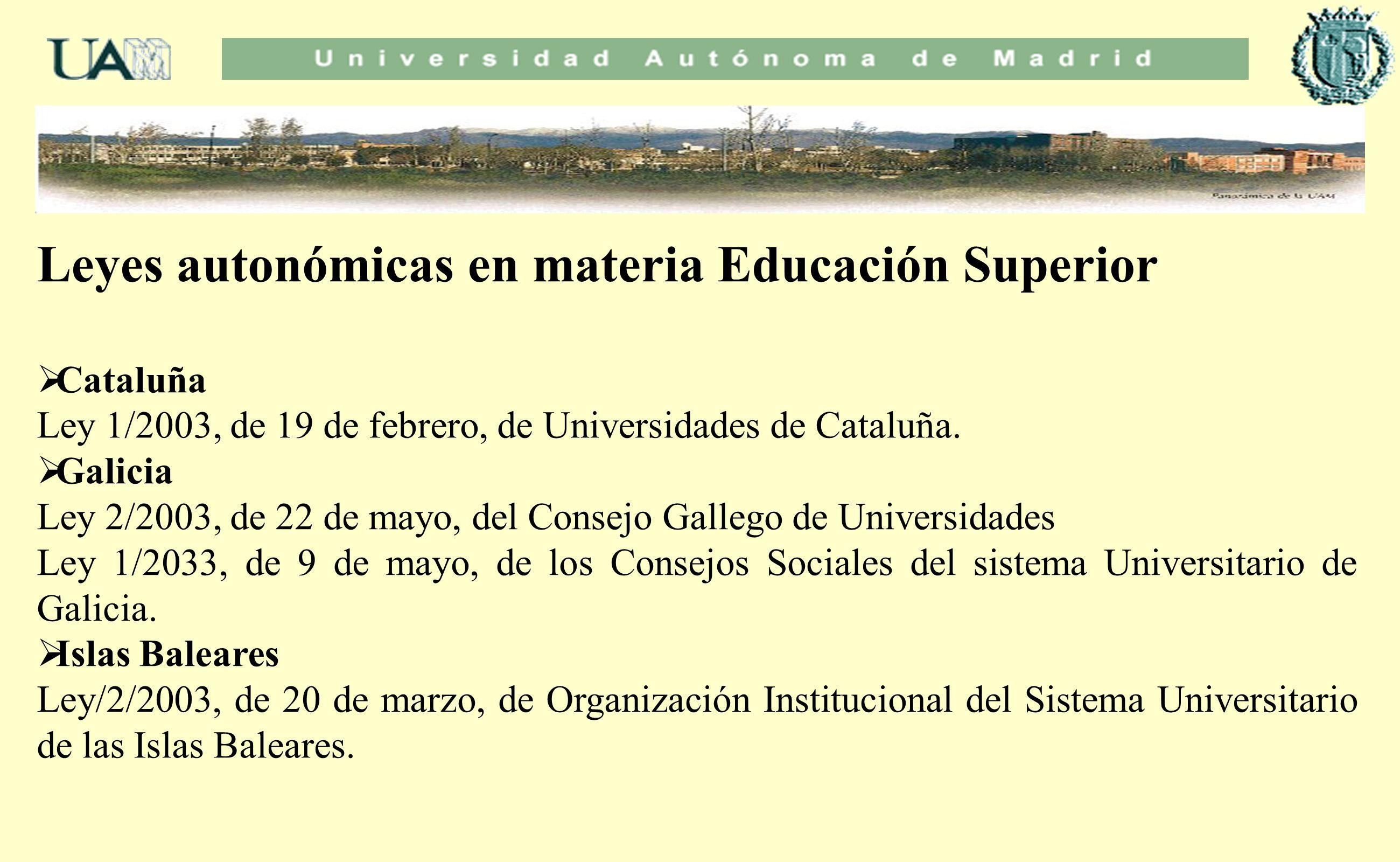 Leyes autonómicas en materia Educación Superior Cataluña Ley 1/2003, de 19 de febrero, de Universidades de Cataluña. Galicia Ley 2/2003, de 22 de mayo