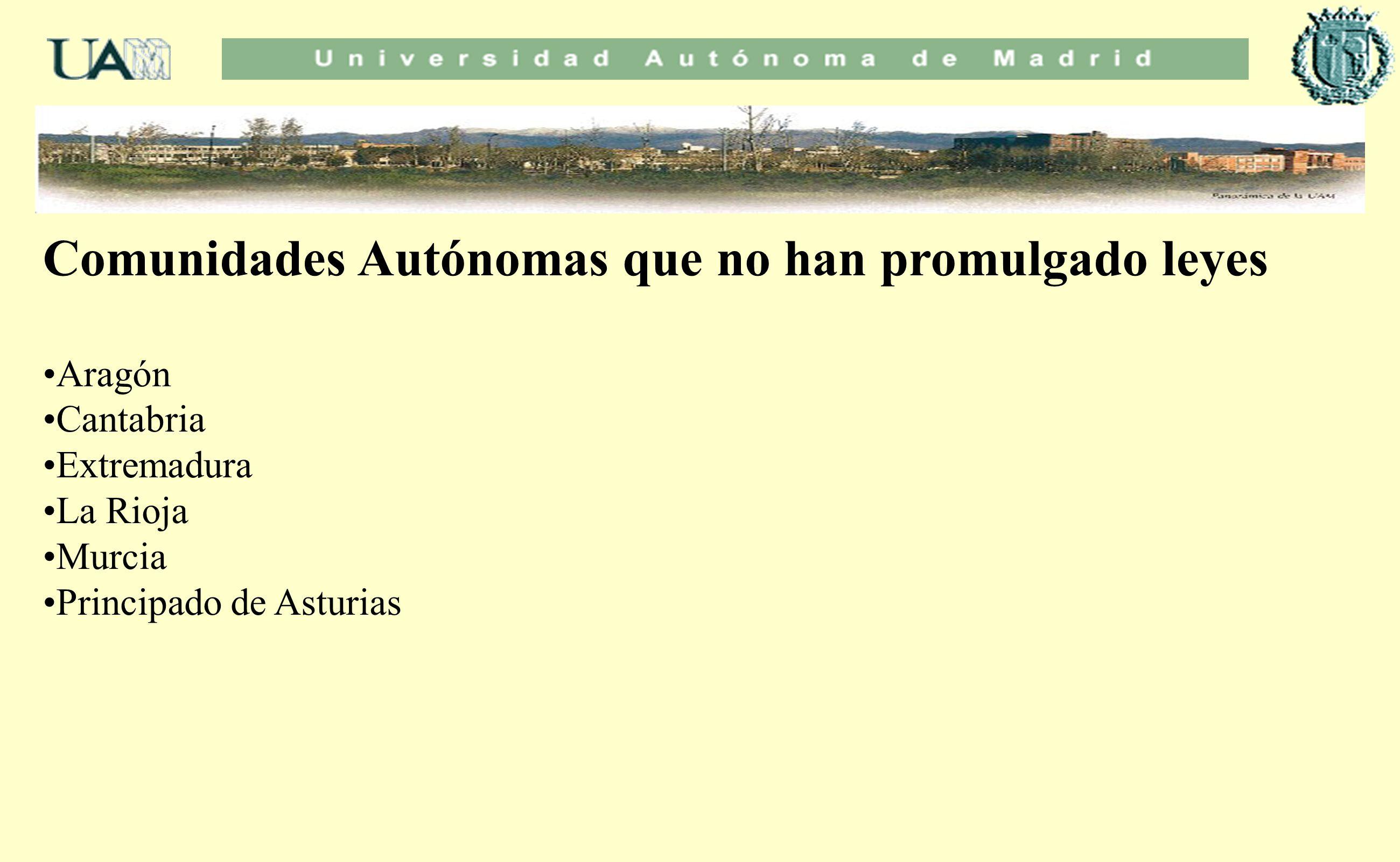 Comunidades Autónomas que no han promulgado leyes Aragón Cantabria Extremadura La Rioja Murcia Principado de Asturias